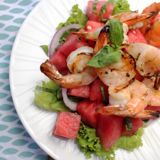 Grilled Shrimp & Basil Lime Watermelon Salad