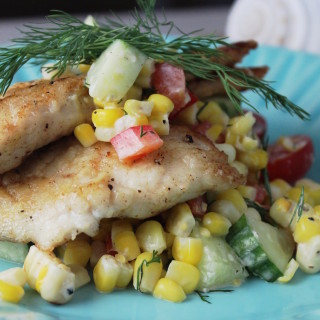 Porgy with Roasted Corn, Tomato & Buttermilk Salad