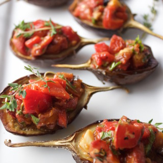 Baby Eggplants with Roasted Tomato & Red Pepper