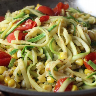 Zoodles with Tomato, Corn & Basil