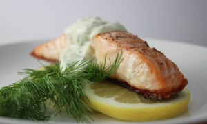 salmon with sour cream dill sauce