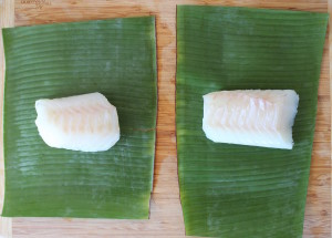 cod in banana leaves raw