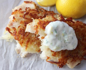 potato encrusted grouper stacked