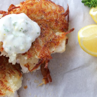 Rosemary-Garlic Potato Encrusted Grouper