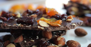 chocolate almond cherry kumquat bark