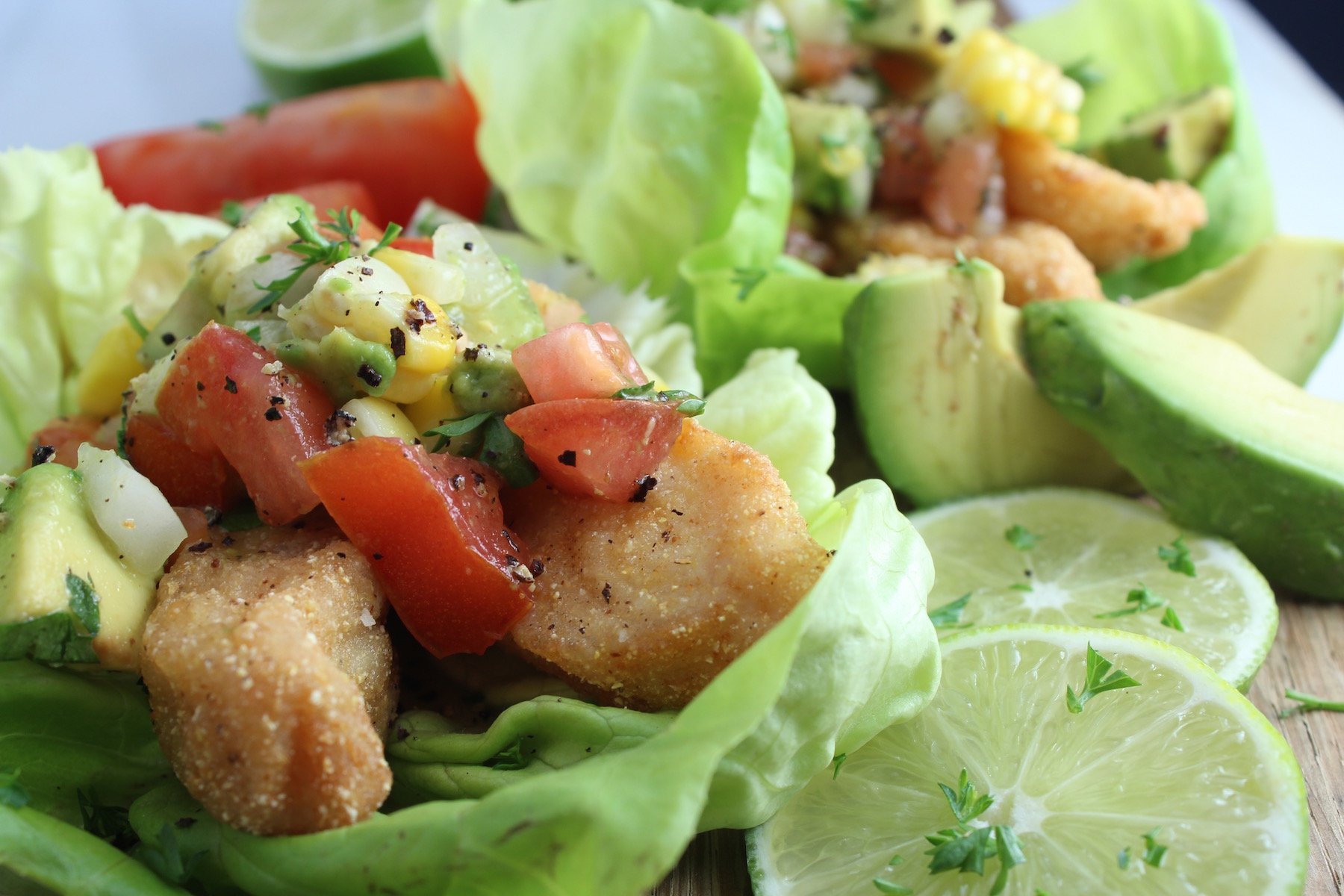 lettuce fish tacos with lime