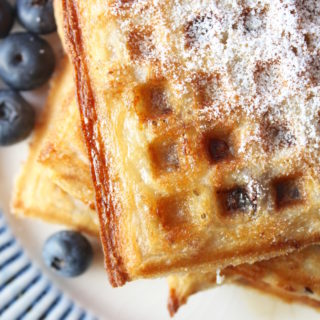 Sausage Waffles with Blueberries