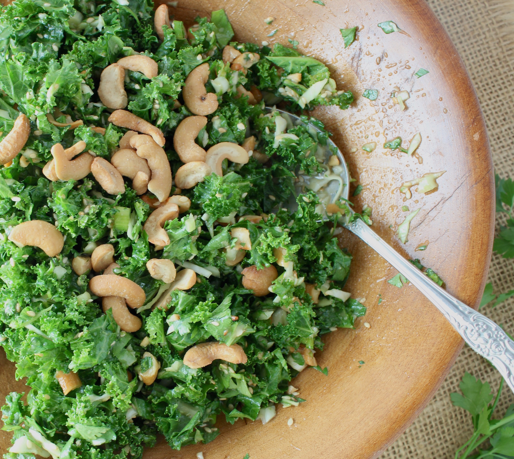 kale cashew salad in bowl