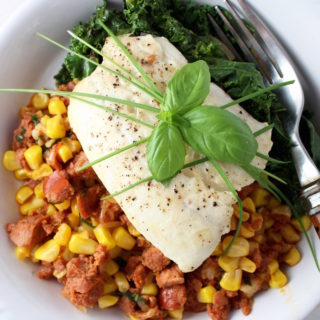 Halibut with Warm Chourico & Corn Relish