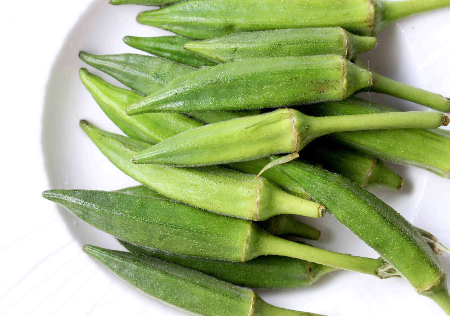 Fresh okra pods