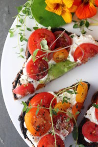 Tomato Tartines on Plate