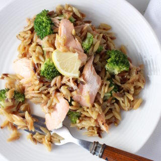 Orzo Risotto with Broccoli & Roasted Salmon