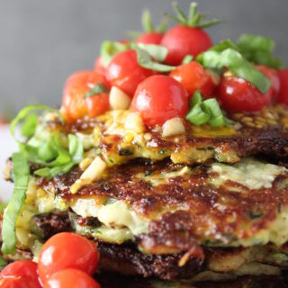 Zucchini Pancakes with Blistered Tomatoes & Basil