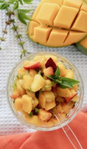 Mango peach salsa with Ginger and basil