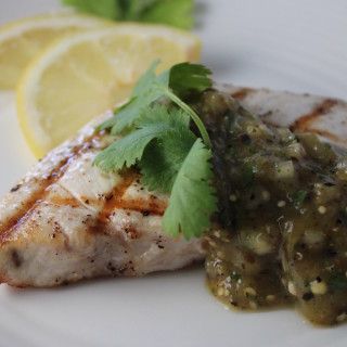 Grilled Swordfish with Roasted Tomatillo Salsa