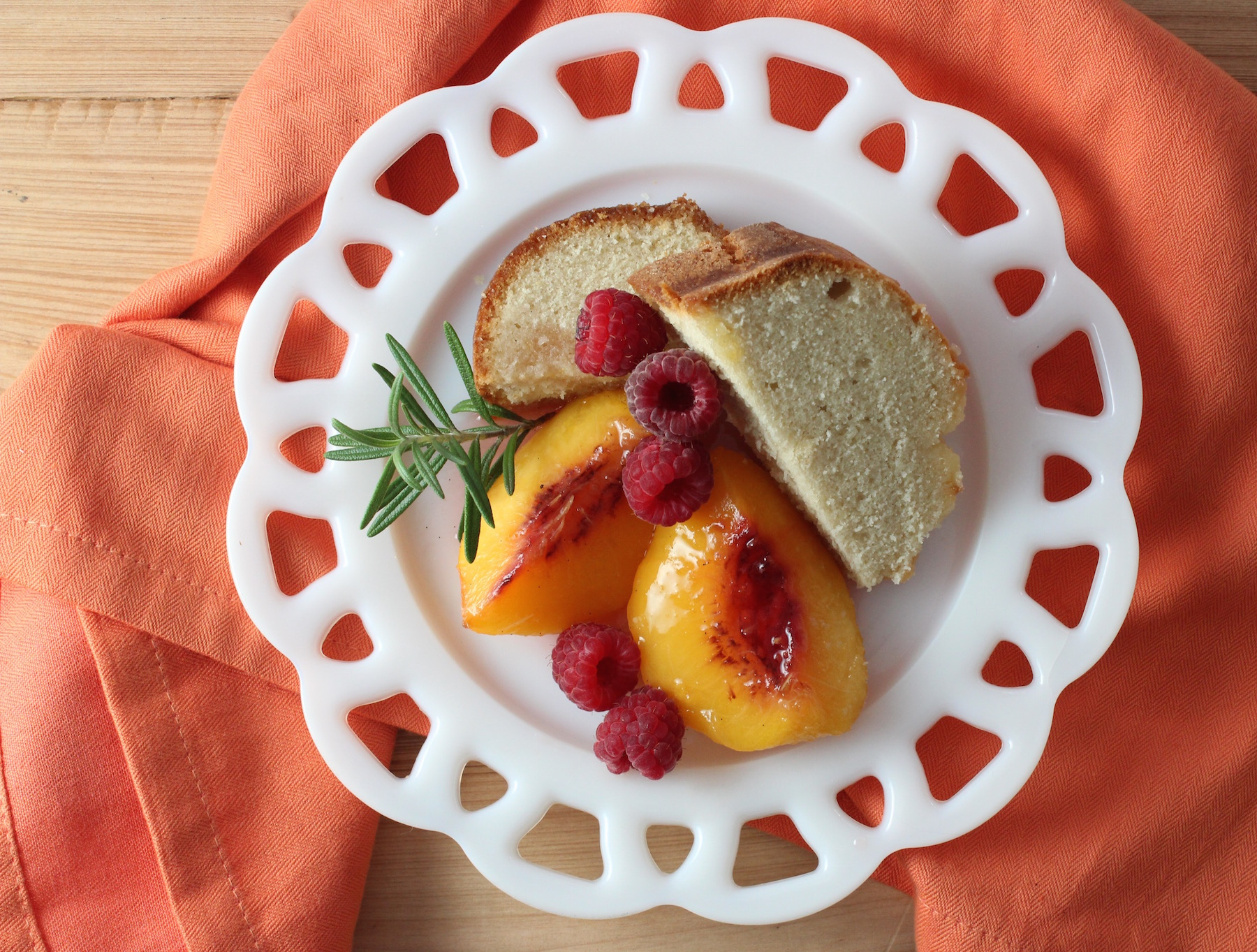 Poached Peaches with Rosemary and Cake