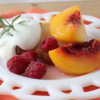 Poached peaches with rosemary