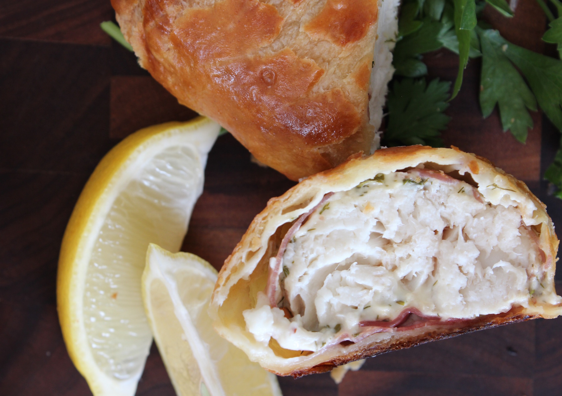 fish wellington with lemon and herbs