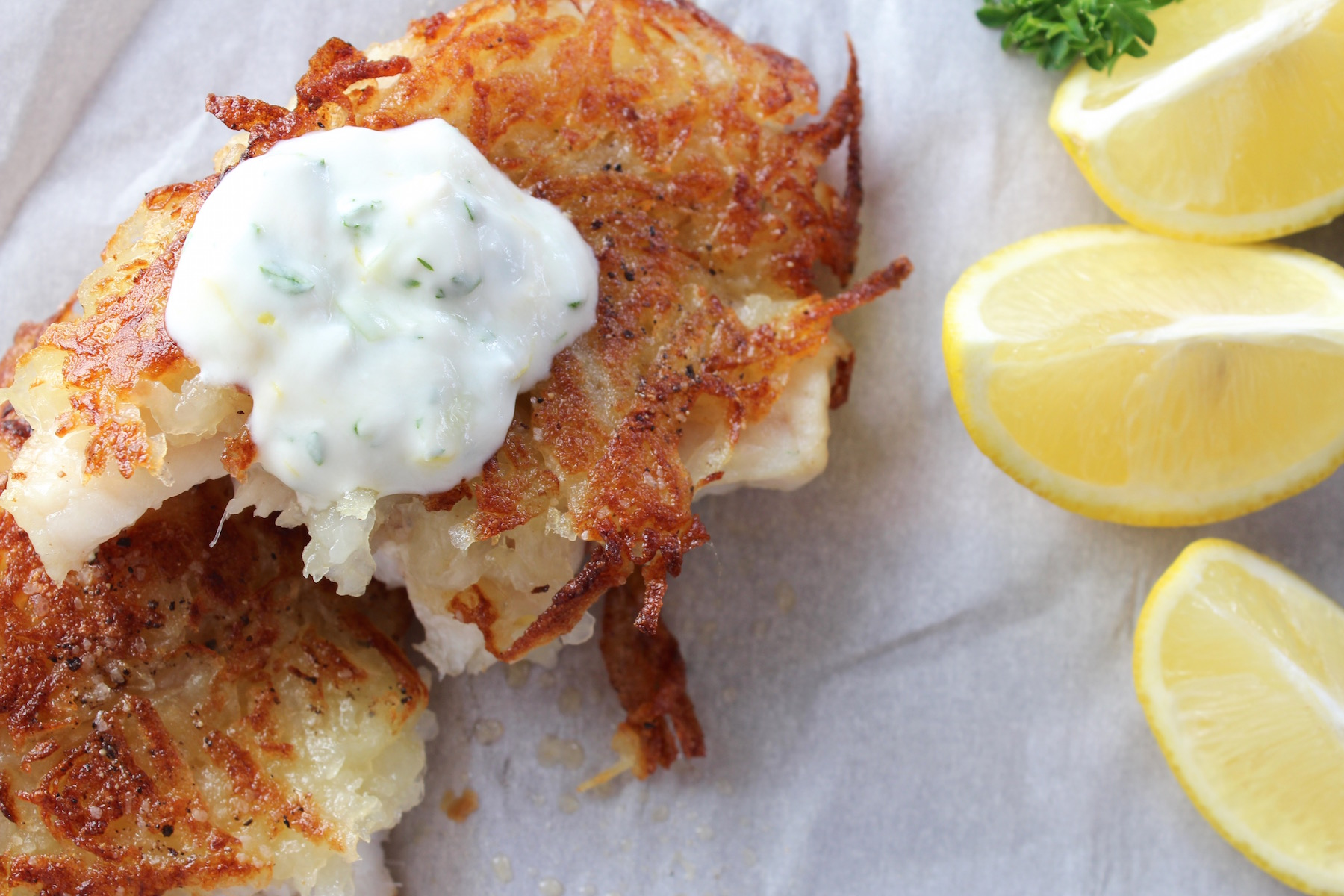 potato encrusted grouper with lemons