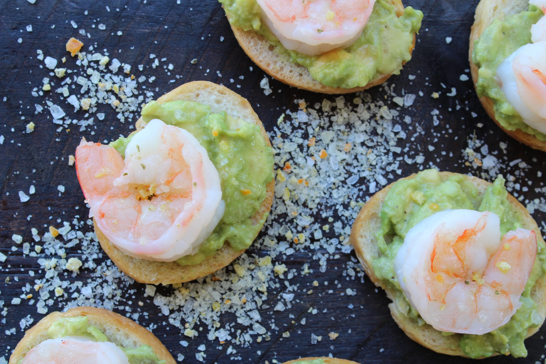 shrimp avocado toast on board