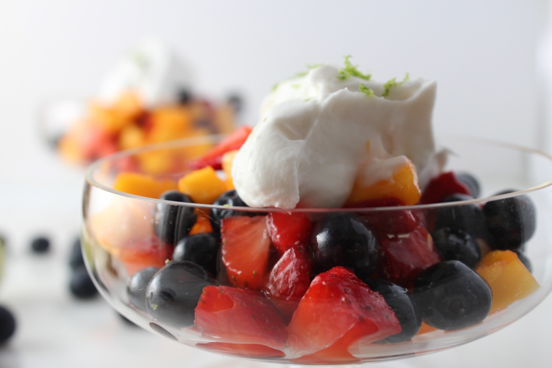 fruit with whipped coconut cream
