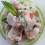 yellowfin ceviche on lime