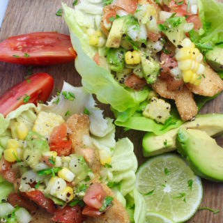 lettuce fish tacos on cutting board