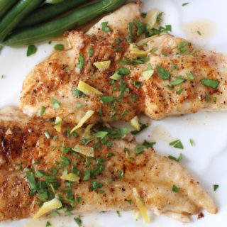 flounder brown butter on dish