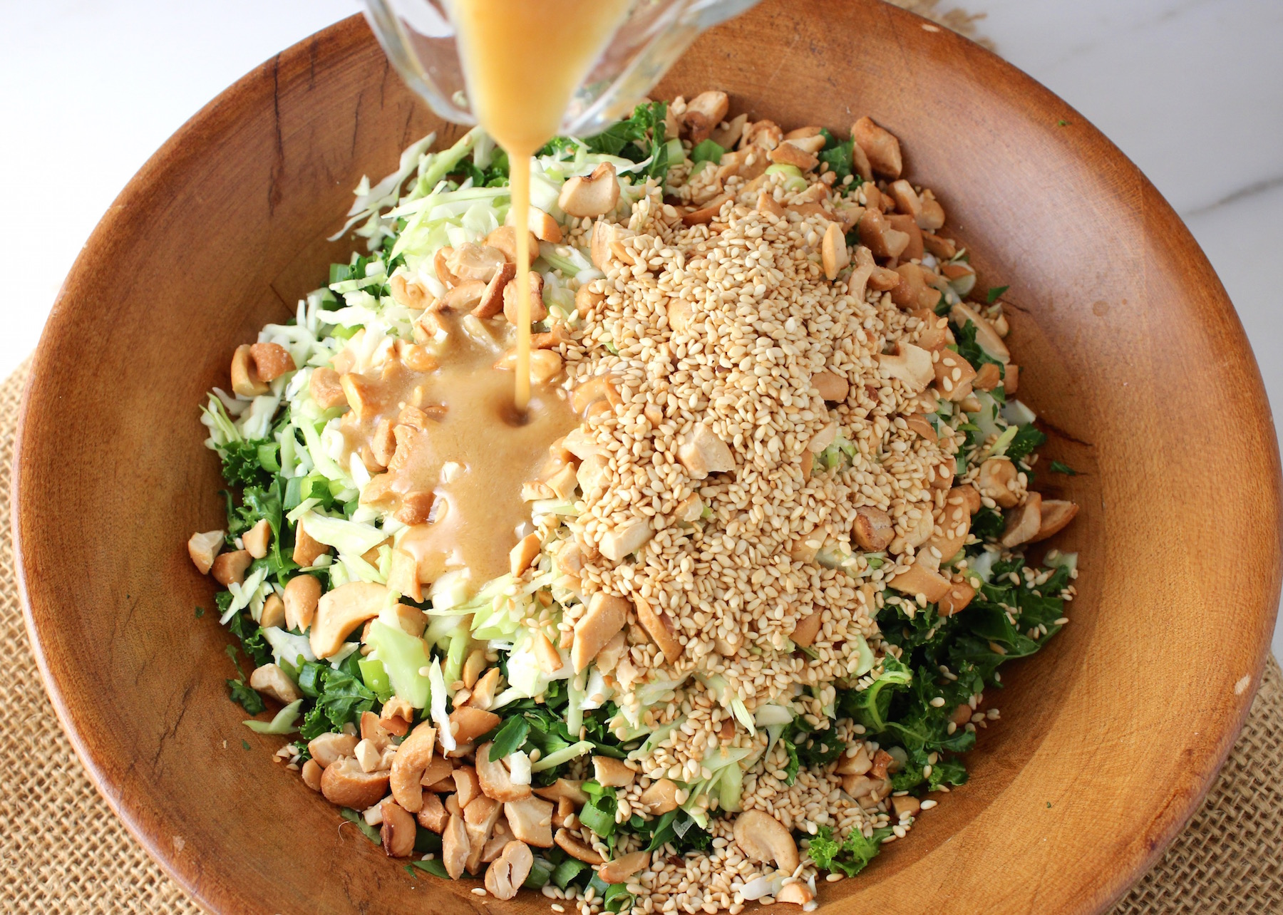kale cashew salad with miso