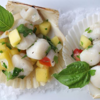 scallop ceviche close up