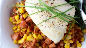 halibut with corn and chorico