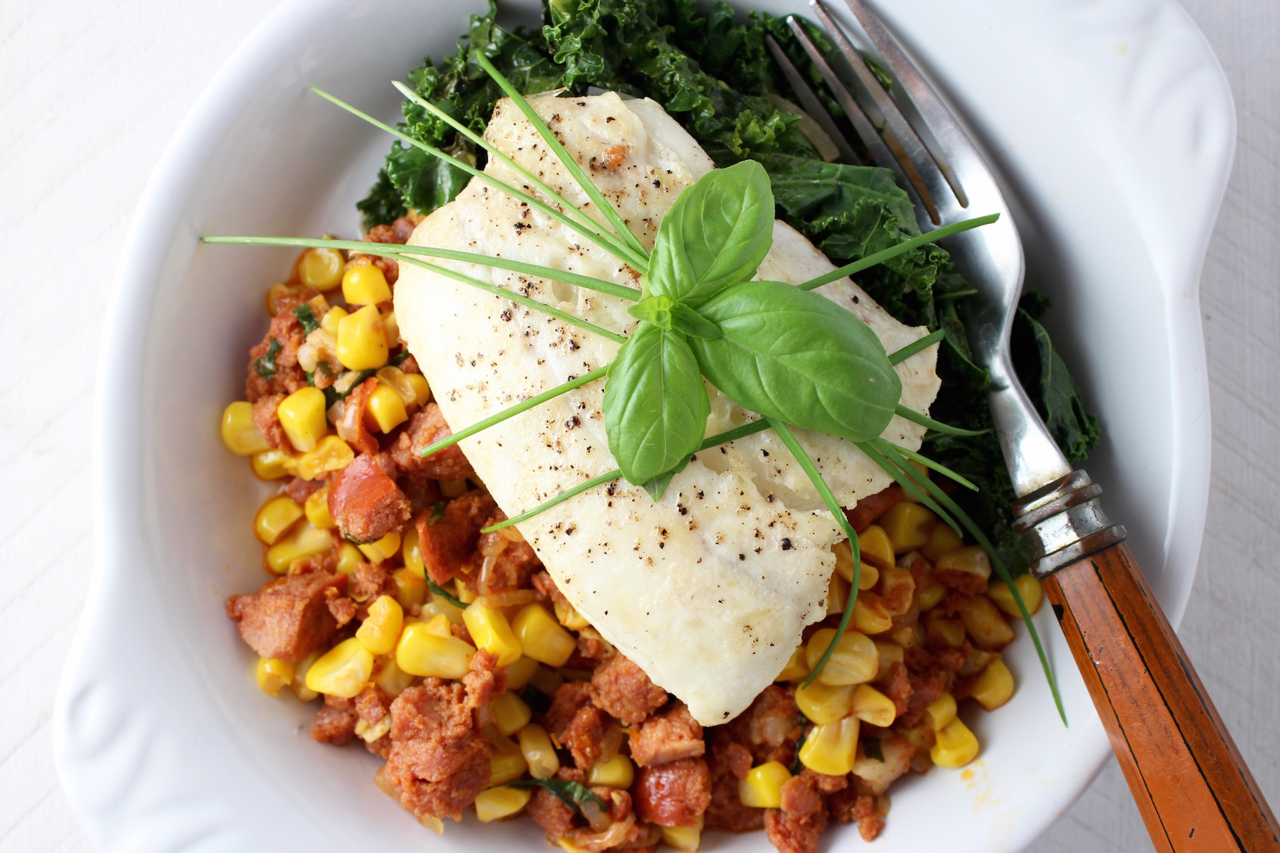 Halibut with Chourico and Corn