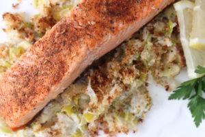 king salmon with creamed leeks