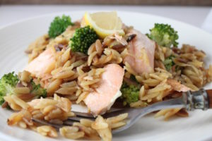 orzo risotto with salmon