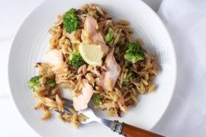 Orzo with Broccoli and Salmon
