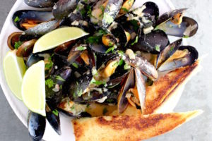 Mussels with Miso and Grilled Bread