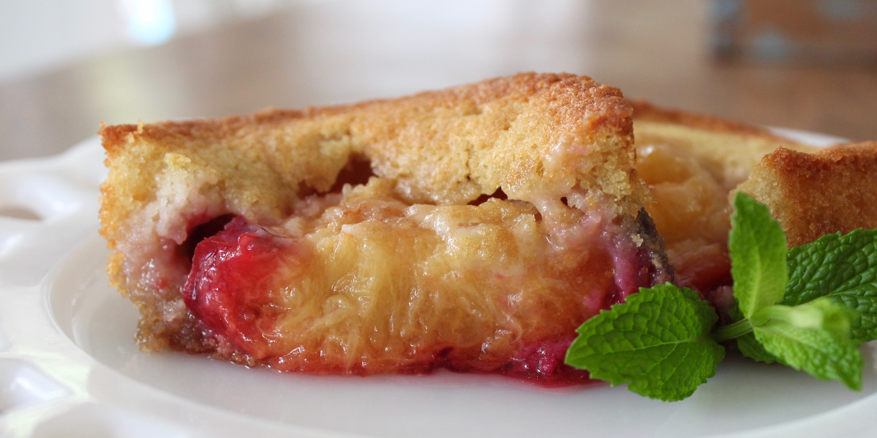 Oven Roasted Plum Cake on plate