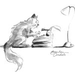 cat at typewriter