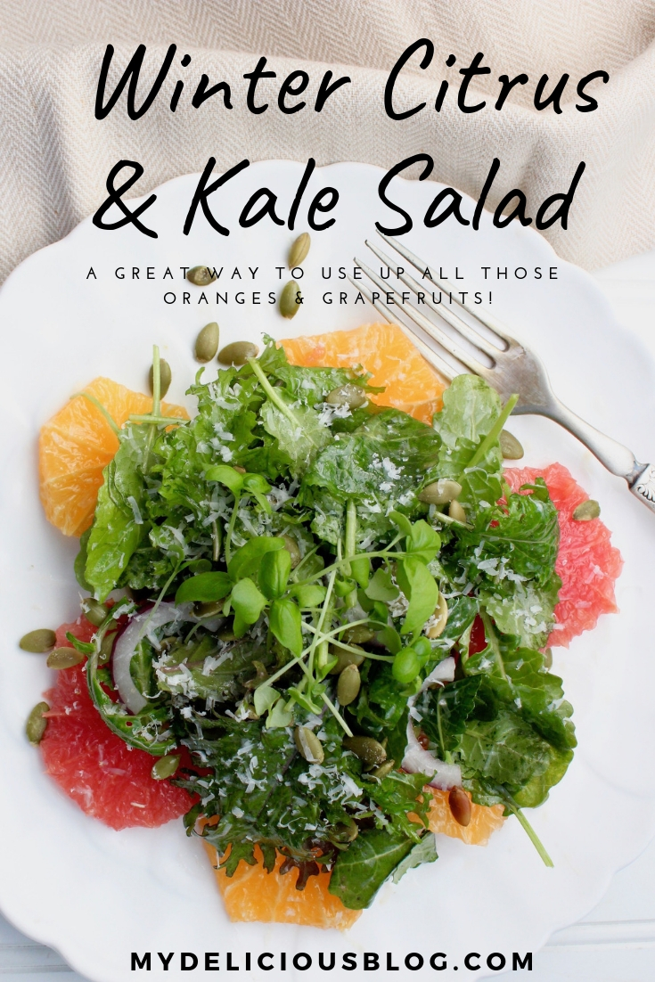 orange grapefruit and kale salad