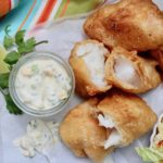 Beer batter fish with mango sauce