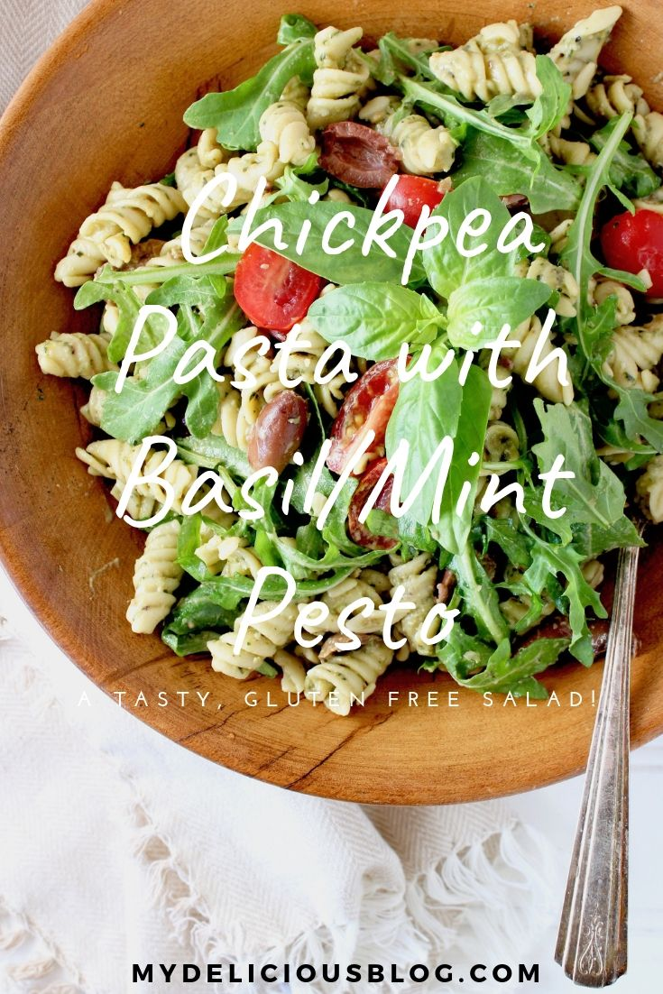 Chickpea Pasta with Basil Mint Pesto